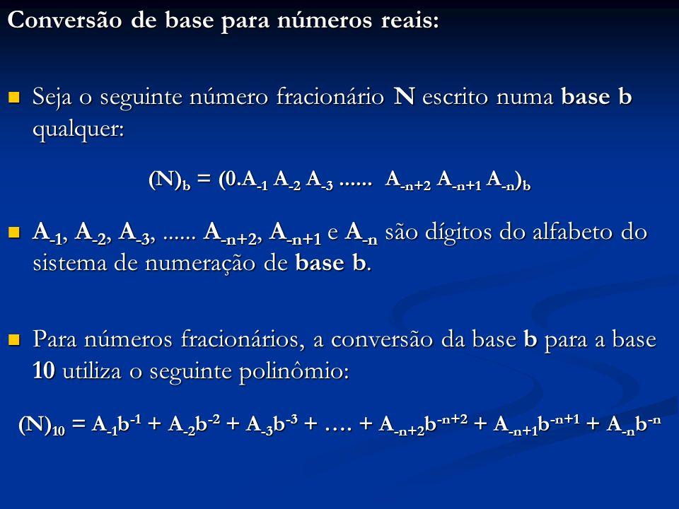 (N)b = (0.A-1 A-2 A-3 ...... A-n+2 A-n+1 A-n)b