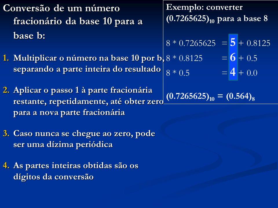 Conversão de um número fracionário da base 10 para a base b: