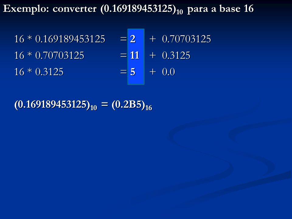 Exemplo: converter (0. 169189453125)10 para a base 16 16