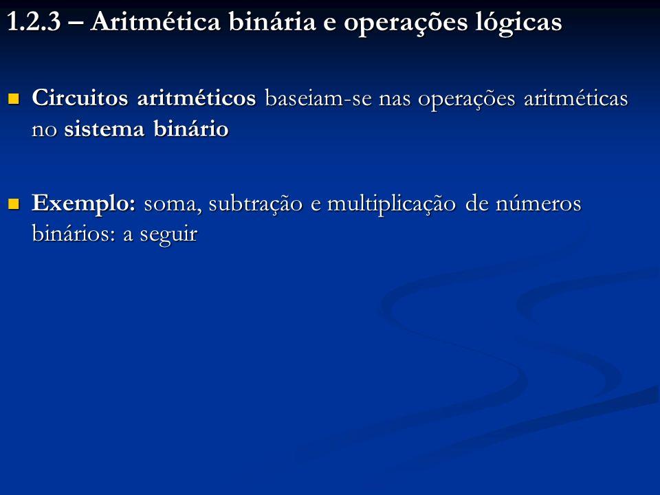 1.2.3 – Aritmética binária e operações lógicas