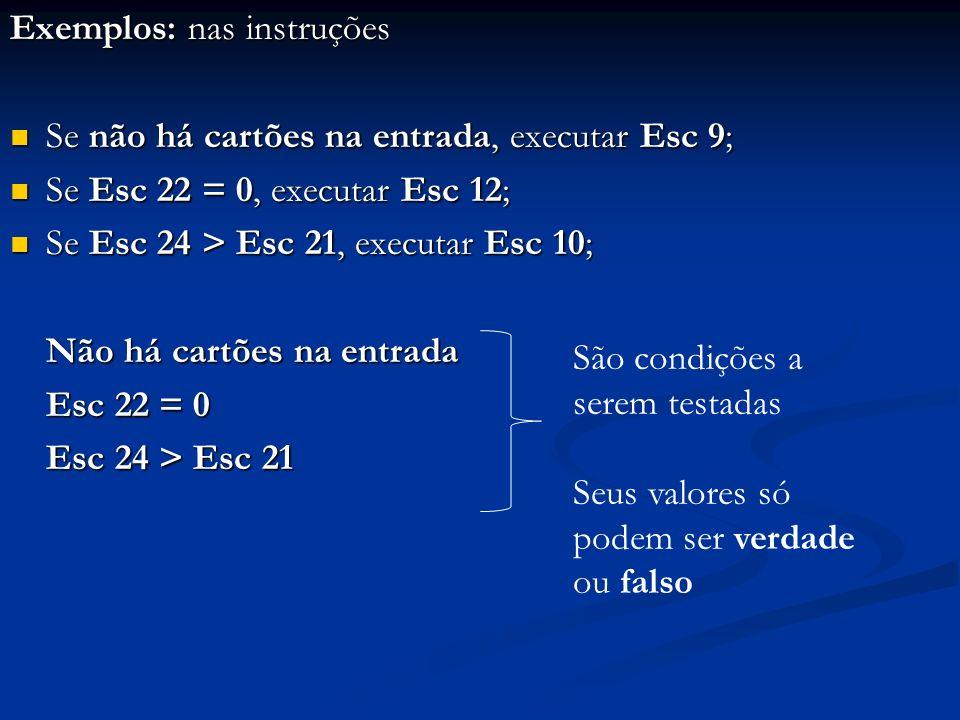 Exemplos: nas instruções