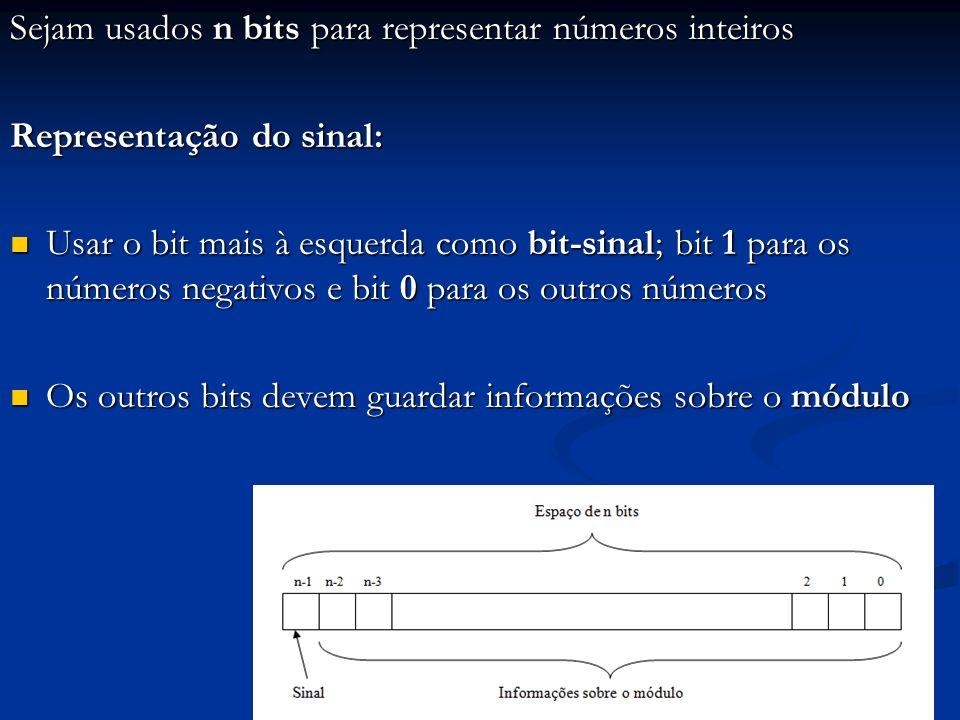 Sejam usados n bits para representar números inteiros