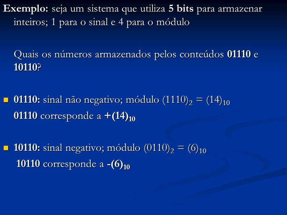 Exemplo: seja um sistema que utiliza 5 bits para armazenar inteiros; 1 para o sinal e 4 para o módulo