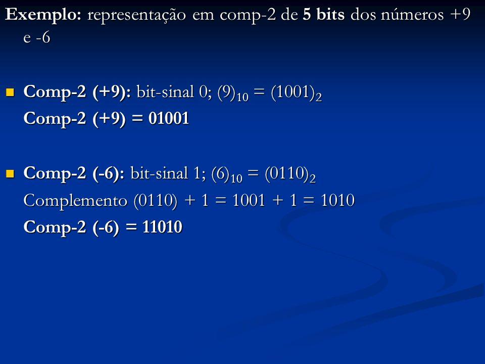 Exemplo: representação em comp-2 de 5 bits dos números +9 e -6