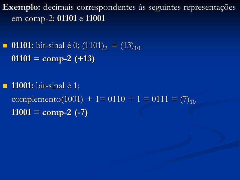 Exemplo: decimais correspondentes às seguintes representações em comp-2: 01101 e 11001