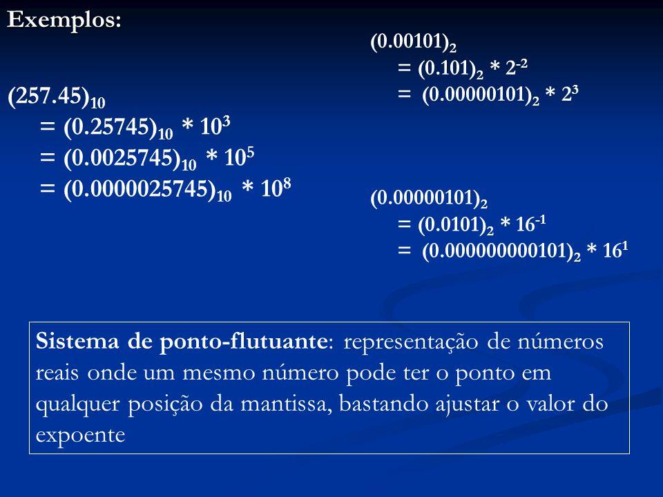 Exemplos:(0.00101)2. = (0.101)2 * 2-2. = (0.00000101)2 * 23. (257.45)10. = (0.25745)10 * 103. = (0.0025745)10 * 105.