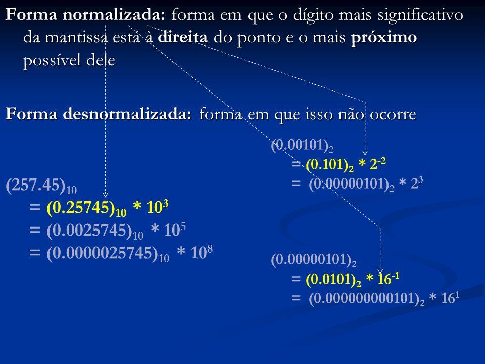 Forma normalizada: forma em que o dígito mais significativo da mantissa está à direita do ponto e o mais próximo possível dele Forma desnormalizada: forma em que isso não ocorre
