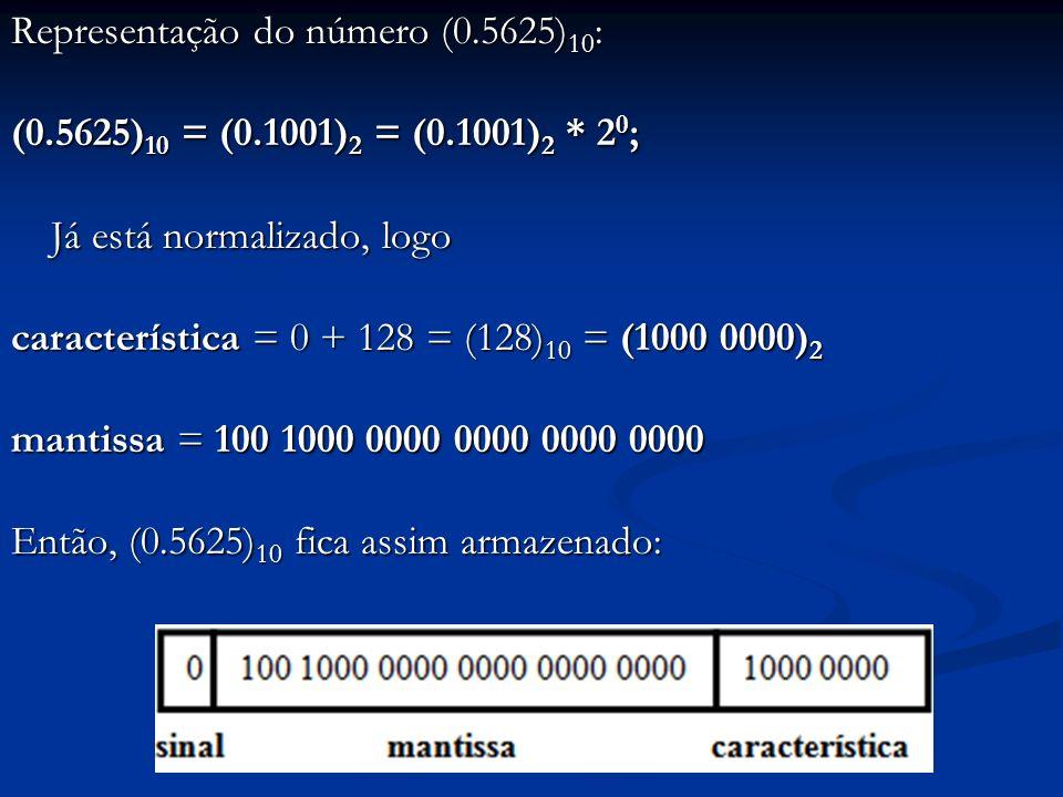 Representação do número (0. 5625)10: (0. 5625)10 = (0. 1001)2 = (0