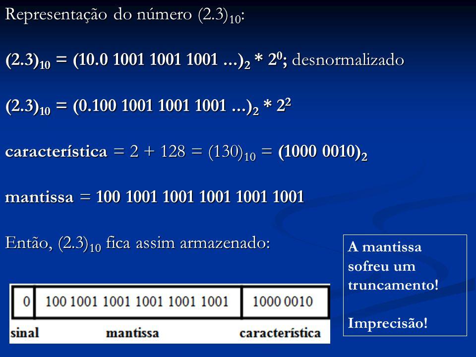 Representação do número (2. 3)10: (2. 3)10 = (10. 0 1001 1001 1001. )2