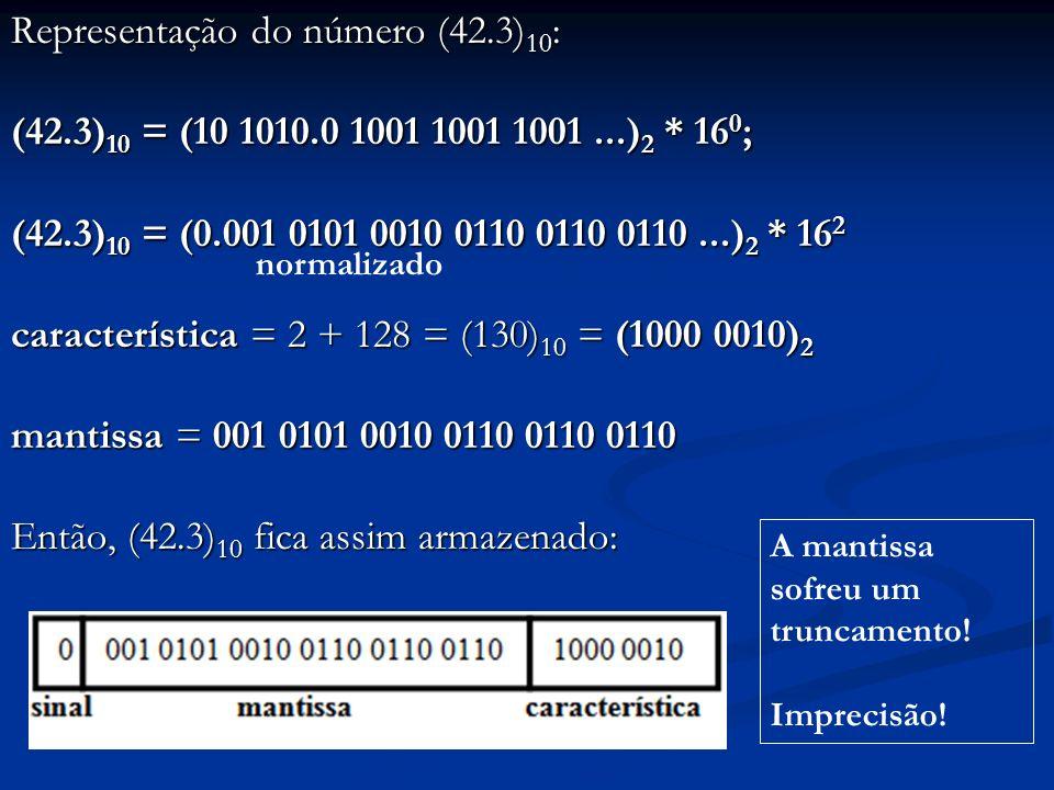 Representação do número (42. 3)10: (42. 3)10 = (10 1010