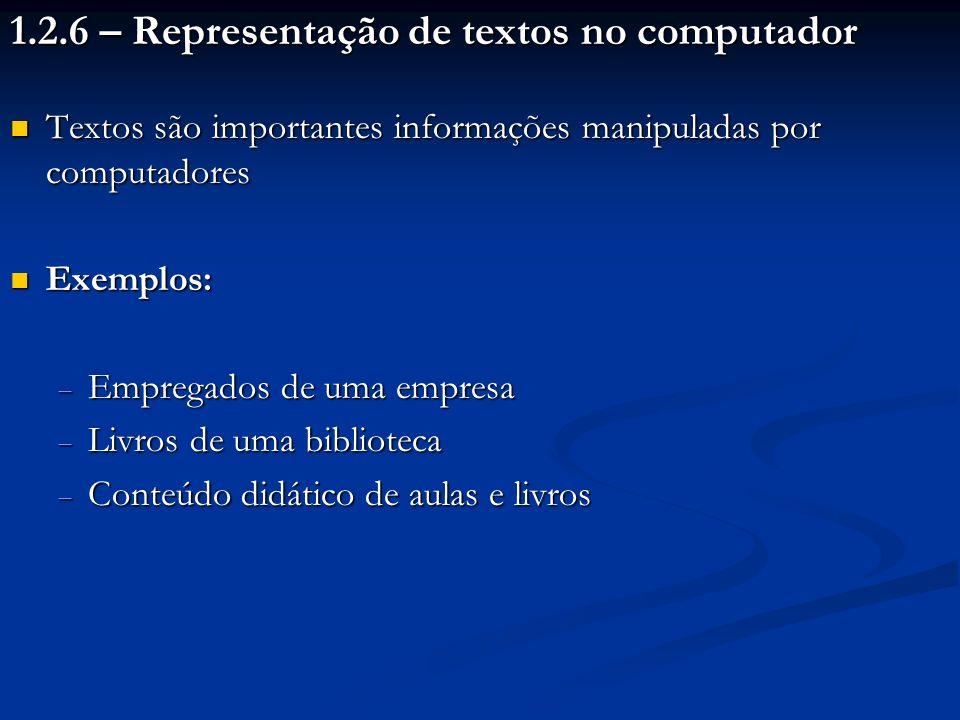 1.2.6 – Representação de textos no computador