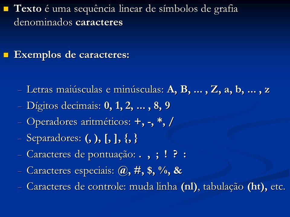 Texto é uma sequência linear de símbolos de grafia denominados caracteres