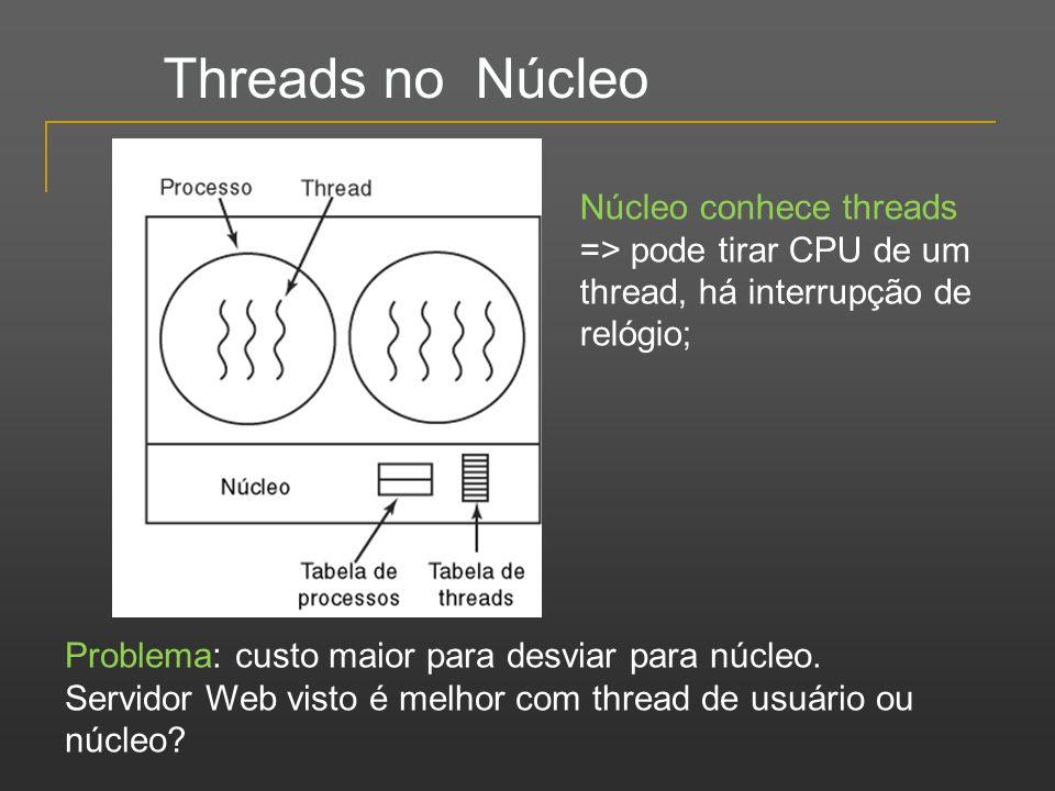 Threads no Núcleo Núcleo conhece threads => pode tirar CPU de um thread, há interrupção de relógio;