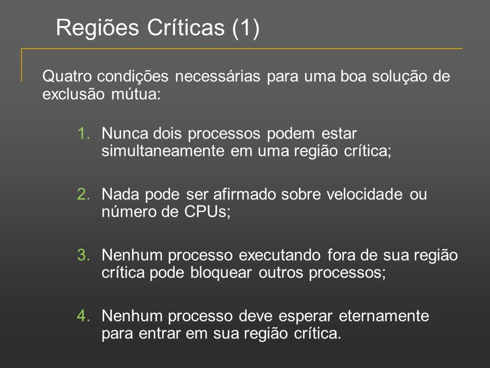 Regiões Críticas (1) Quatro condições necessárias para uma boa solução de exclusão mútua: