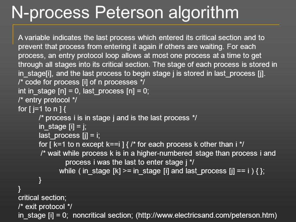 N-process Peterson algorithm