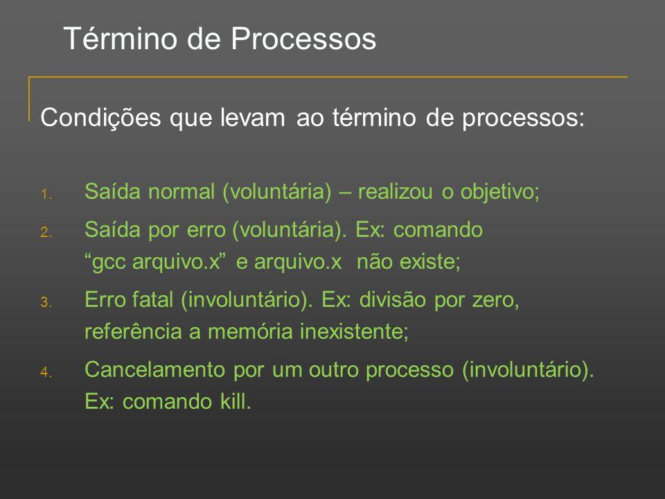 Término de Processos Condições que levam ao término de processos: