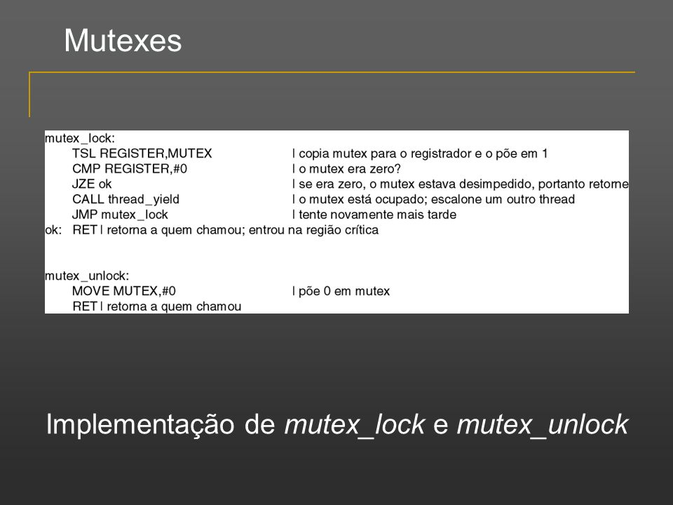 Implementação de mutex_lock e mutex_unlock
