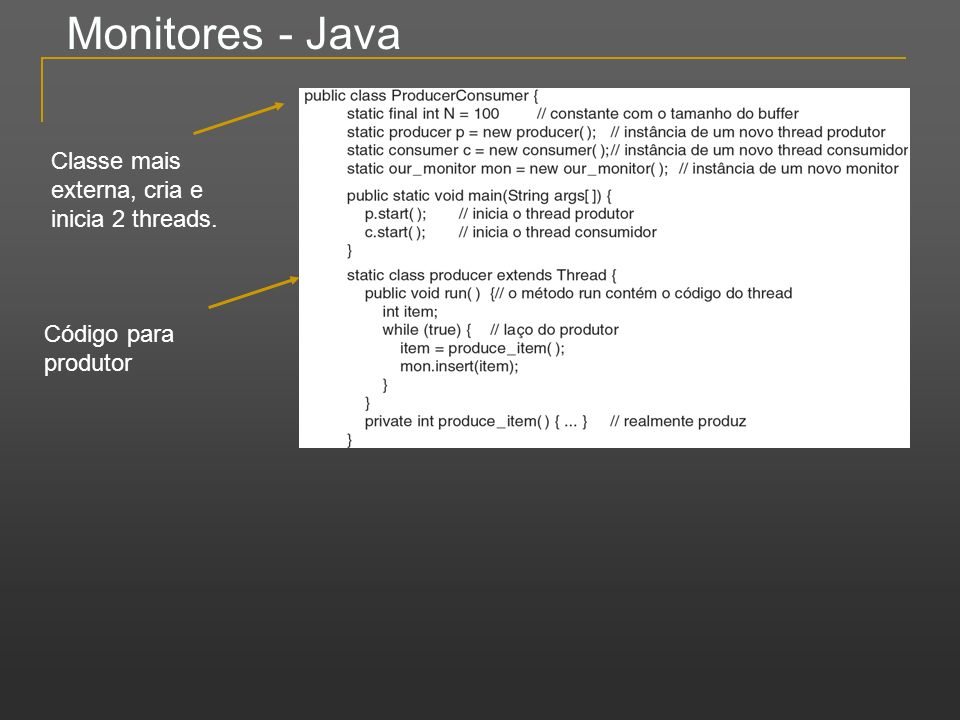 Monitores - Java Classe mais externa, cria e inicia 2 threads.