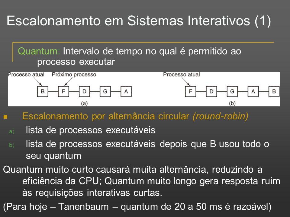 Escalonamento em Sistemas Interativos (1)
