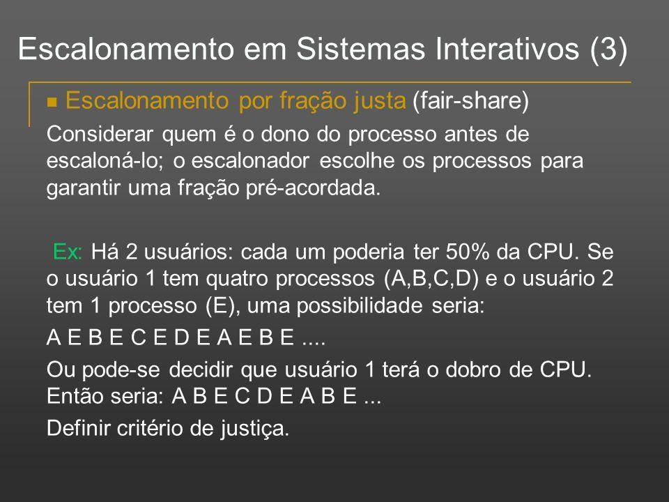 Escalonamento em Sistemas Interativos (3)