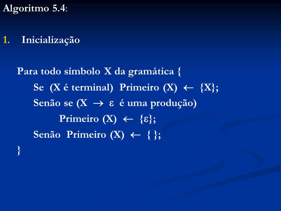 Algoritmo 5.4: Inicialização. Para todo símbolo X da gramática { Se (X é terminal) Primeiro (X)  {X};