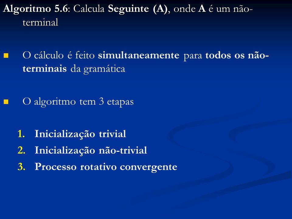 Algoritmo 5.6: Calcula Seguinte (A), onde A é um não-terminal