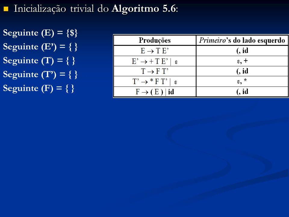 Inicialização trivial do Algoritmo 5.6: