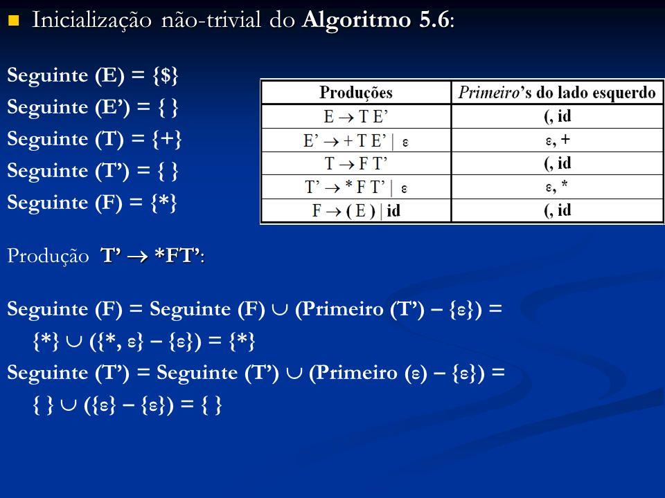 Inicialização não-trivial do Algoritmo 5.6:
