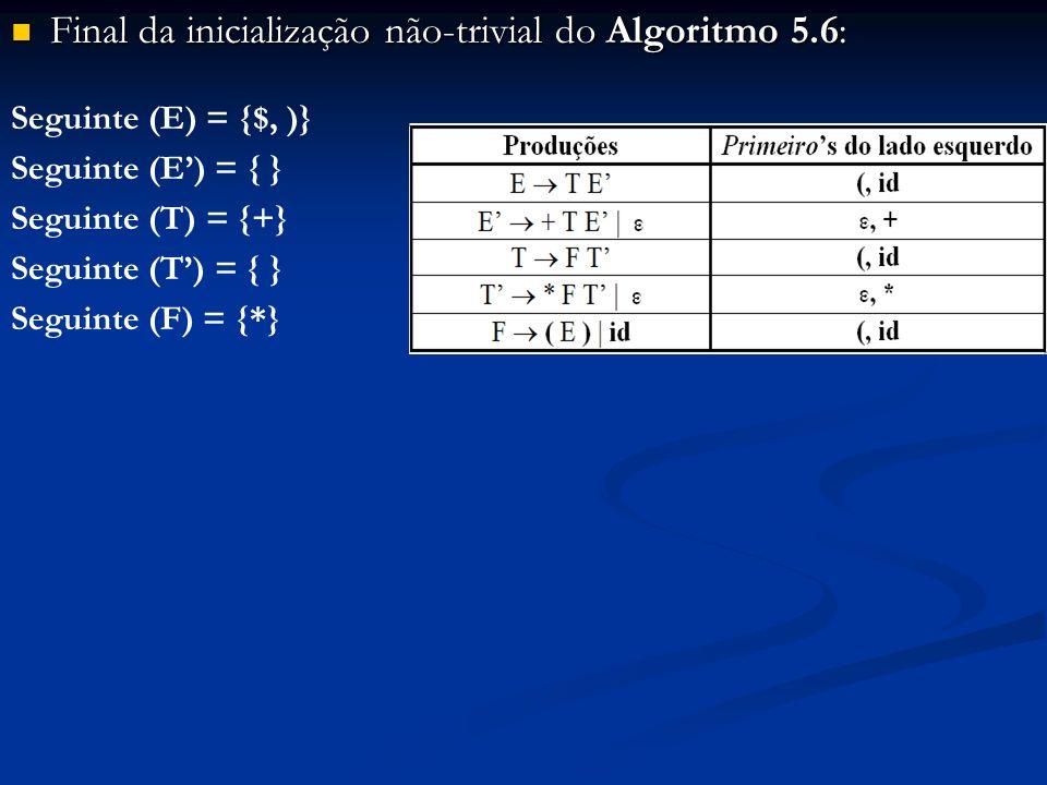 Final da inicialização não-trivial do Algoritmo 5.6: