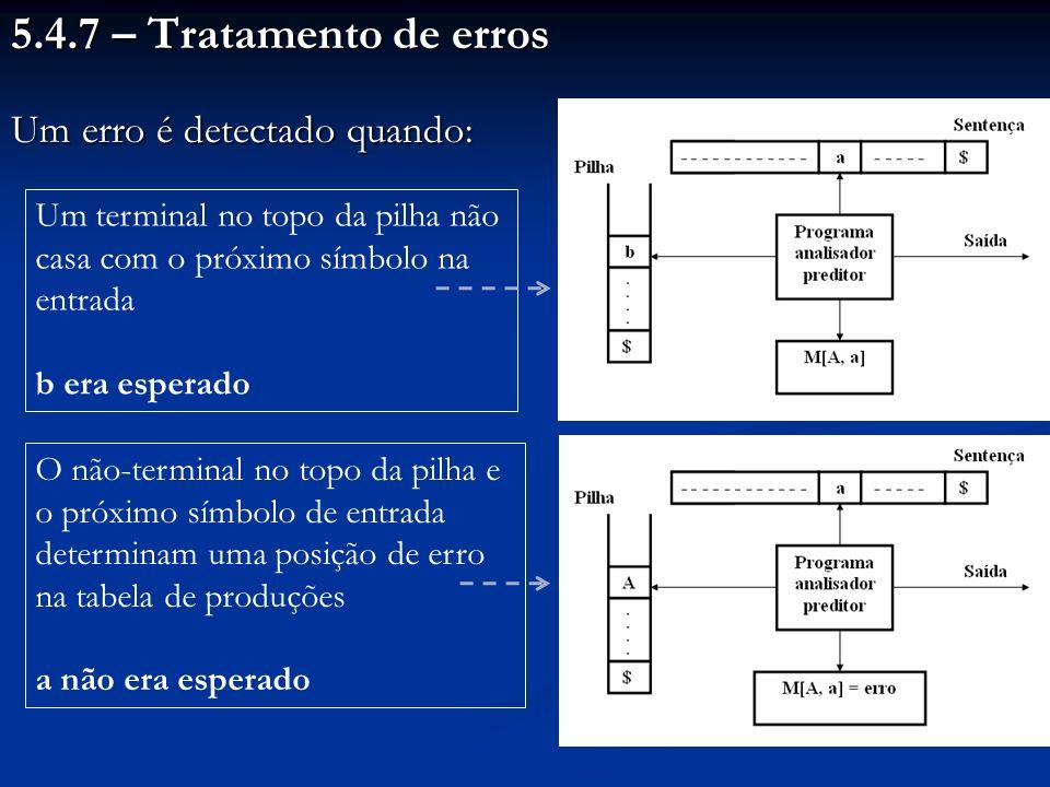 5.4.7 – Tratamento de erros Um erro é detectado quando: