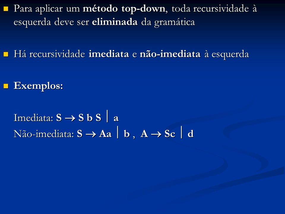 Para aplicar um método top-down, toda recursividade à esquerda deve ser eliminada da gramática