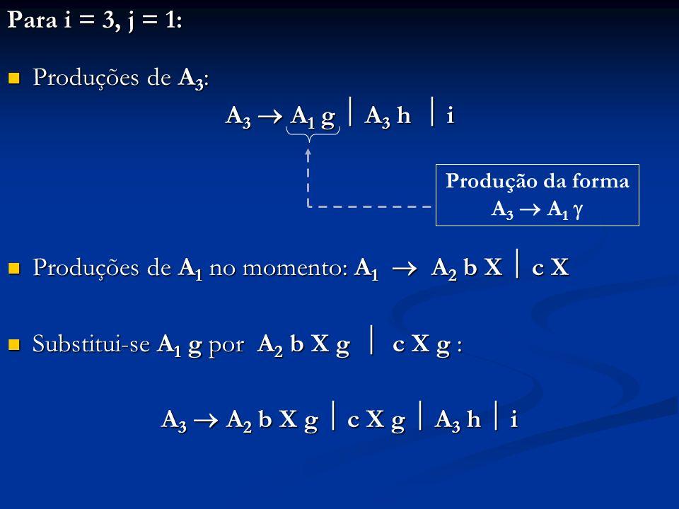Produções de A1 no momento: A1  A2 b X  c X