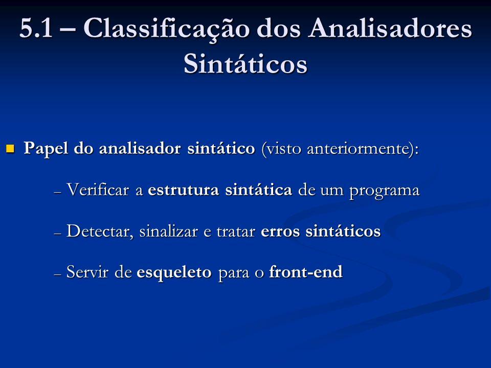 5.1 – Classificação dos Analisadores Sintáticos