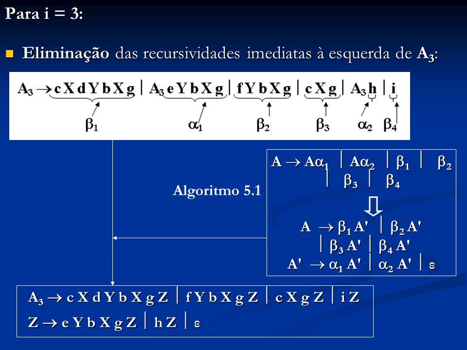 Eliminação das recursividades imediatas à esquerda de A3: