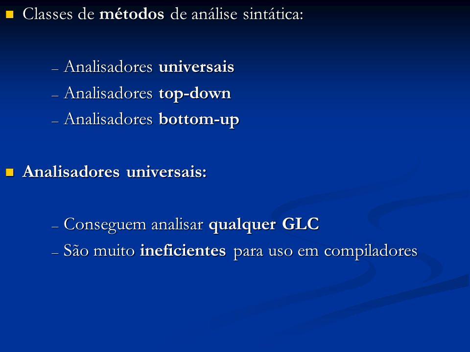 Classes de métodos de análise sintática: