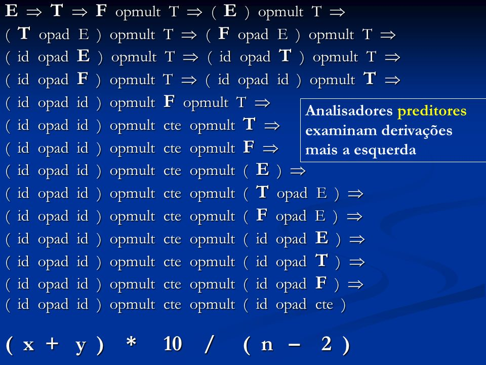 ( x + y ) * 10 / ( n – 2 ) E  T  F opmult T  ( E ) opmult T 