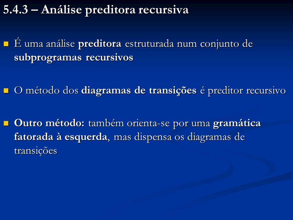 5.4.3 – Análise preditora recursiva