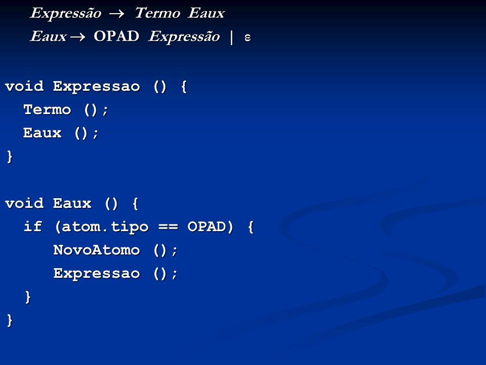 Expressão  Termo Eaux Eaux  OPAD Expressão | ε. void Expressao () { Termo (); Eaux (); }