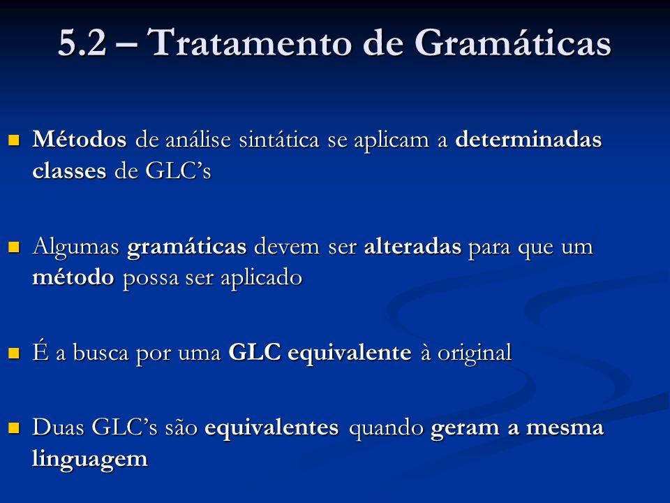 5.2 – Tratamento de Gramáticas