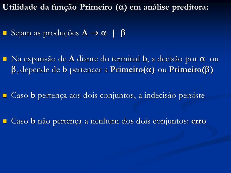 Utilidade da função Primeiro () em análise preditora: