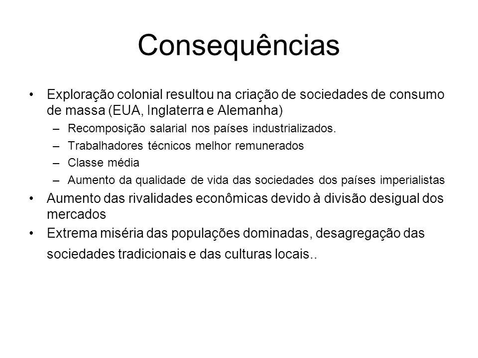 Consequências Exploração colonial resultou na criação de sociedades de consumo de massa (EUA, Inglaterra e Alemanha)