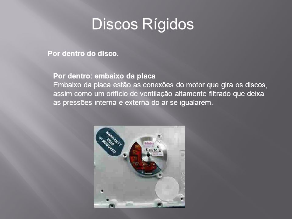 Discos Rígidos Por dentro do disco. Por dentro: embaixo da placa