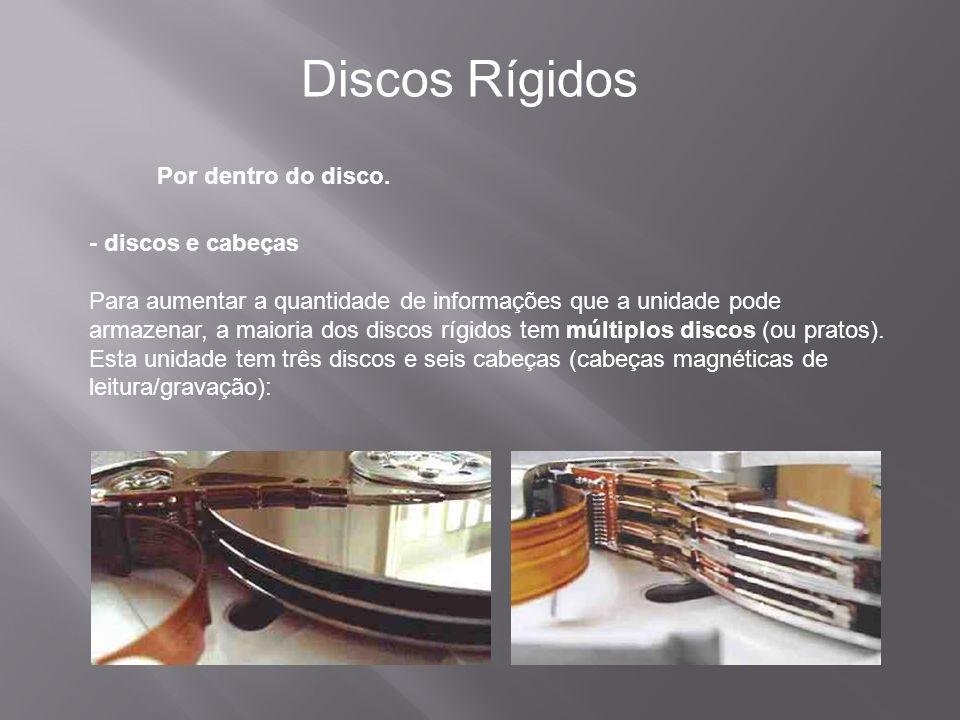 Discos Rígidos Por dentro do disco. - discos e cabeças