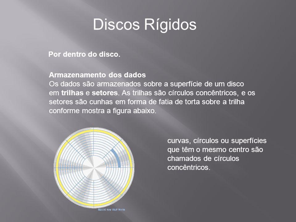 Discos Rígidos Por dentro do disco. Armazenamento dos dados