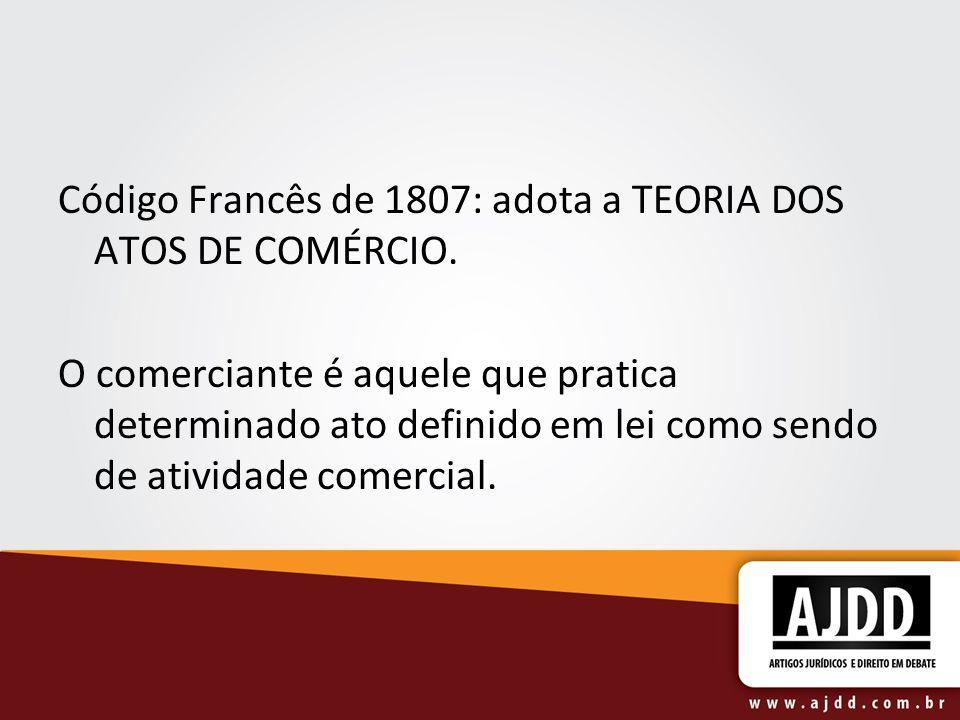 Código Francês de 1807: adota a TEORIA DOS ATOS DE COMÉRCIO.