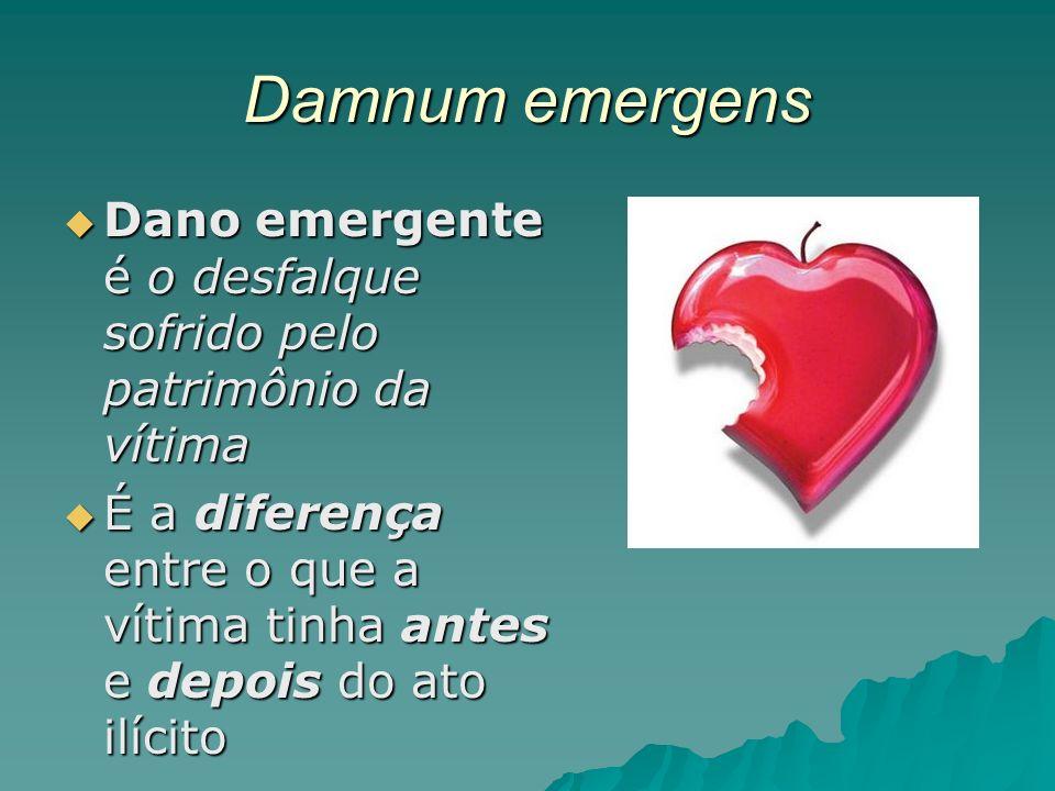 Damnum emergens Dano emergente é o desfalque sofrido pelo patrimônio da vítima.