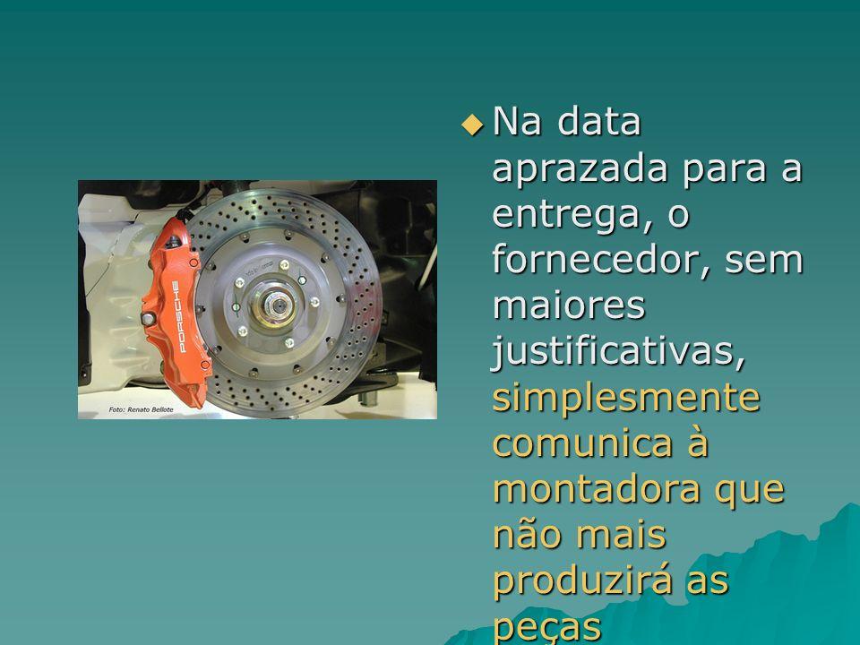 Na data aprazada para a entrega, o fornecedor, sem maiores justificativas, simplesmente comunica à montadora que não mais produzirá as peças