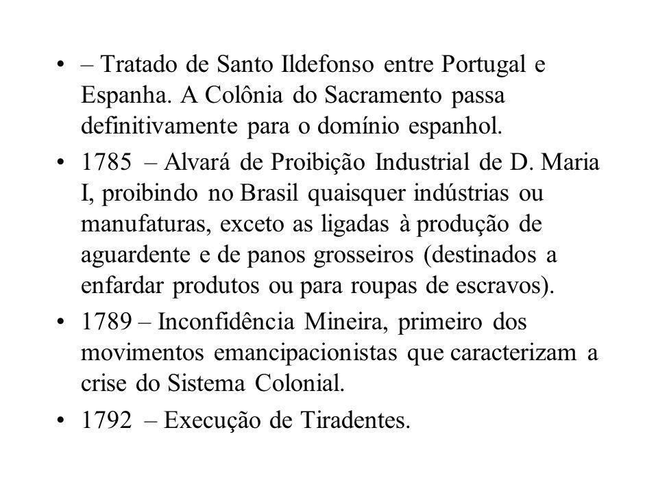 – Tratado de Santo Ildefonso entre Portugal e Espanha