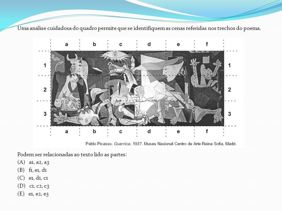 Uma análise cuidadosa do quadro permite que se identifiquem as cenas referidas nos trechos do poema.