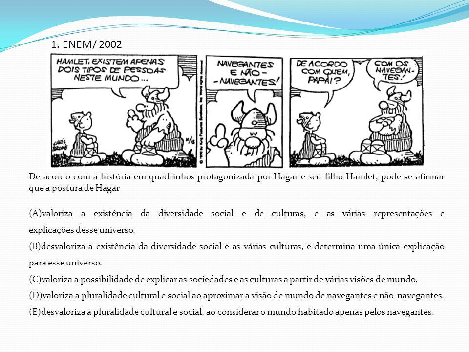 1. ENEM/ 2002 De acordo com a história em quadrinhos protagonizada por Hagar e seu filho Hamlet, pode-se afirmar que a postura de Hagar.